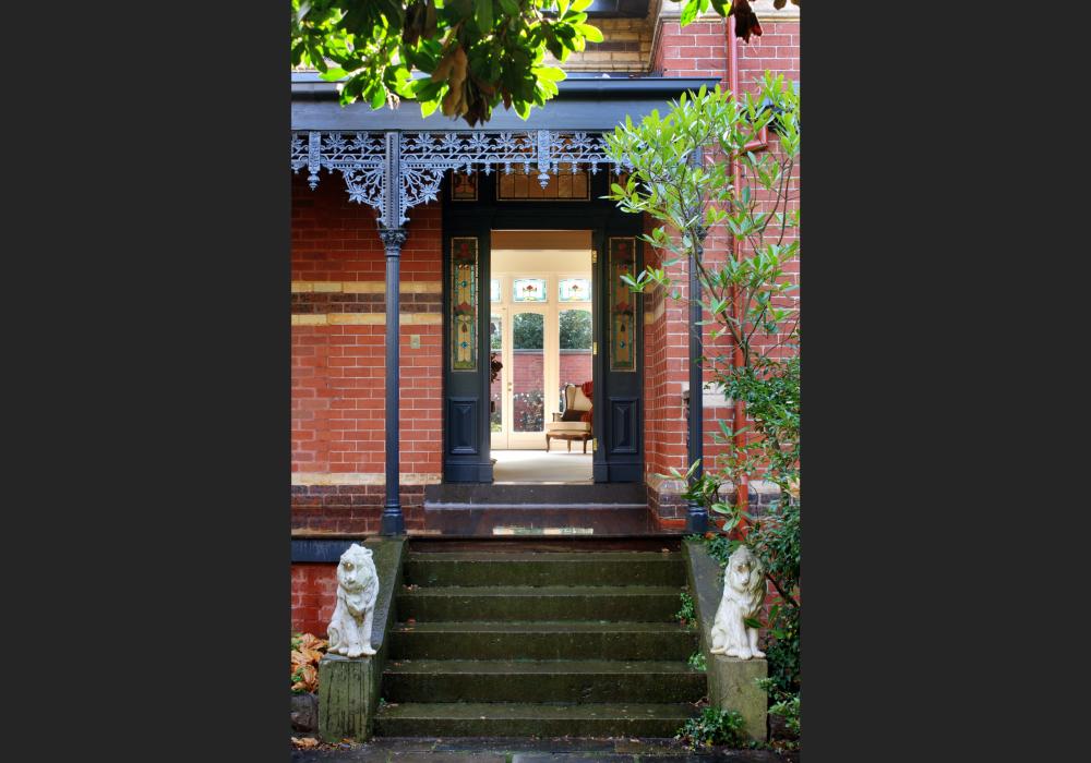 Front door entrance way to Canterbury Victorian Home