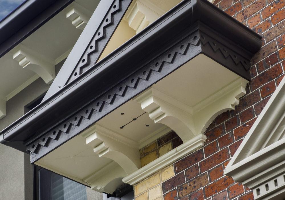 Guttering Closeup of Period Home Restoration in Brighton